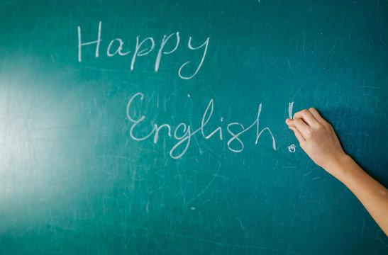 English lesson, school, learn foreign language. Chalkboard. Verb tenses Grammar.