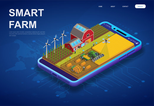 Colorful Smart Farm on a digital device with wooden barn, wind turbines, photovoltaic solar panels, and drone in an isometric vector illustration over a world map depicting global online control