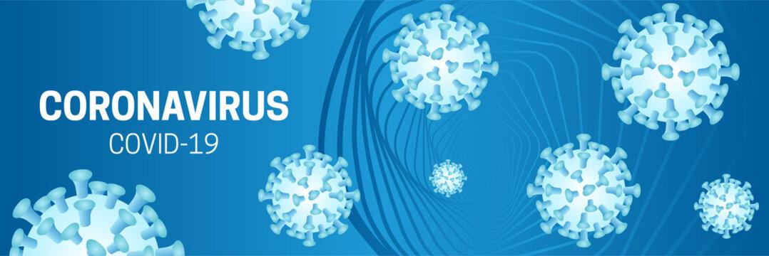Coronavirus Blue Covid-19 Background Illustration with Corona Virus