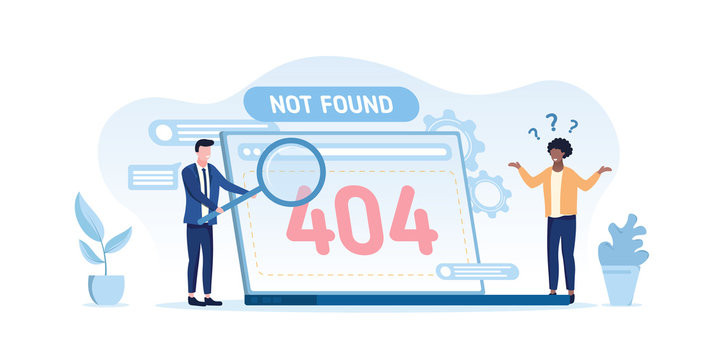 404 computer error - not found on an open laptop screen with a confused black man and businessman trying to conduct a web search, vector illustration