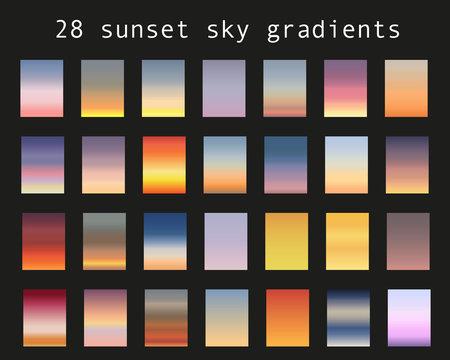 Sunset gradient bundle. Sky backgrounds for nature landscapes. Vector poster or minimal card templates set. Great for web design or as phone wallpapers. Illustration.