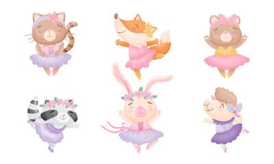 Cute Cartoon Animals in Ballet Skirt Dancing Vector Set