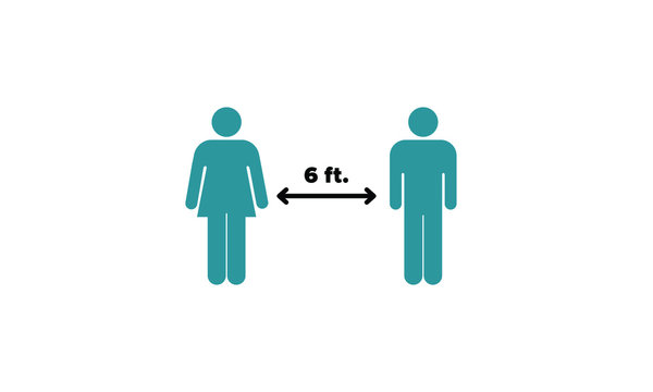 Social Distancing 6 Feet Pictogram