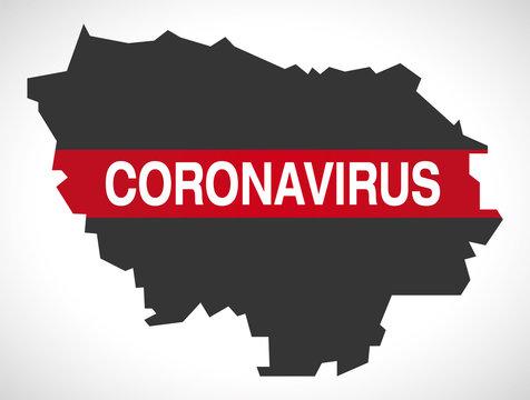 Ile-de-France FRANCE region map with Coronavirus warning illustration