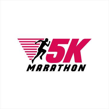 5K Run Logo Design vector Stock symbol .Running logo sport concept . running marathon Logo Design Template .