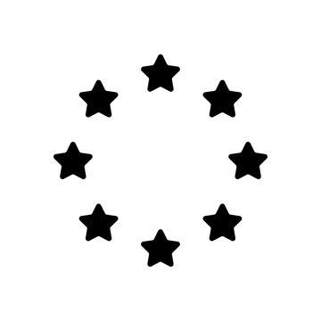 Stars circle, european union. Black icon on white background