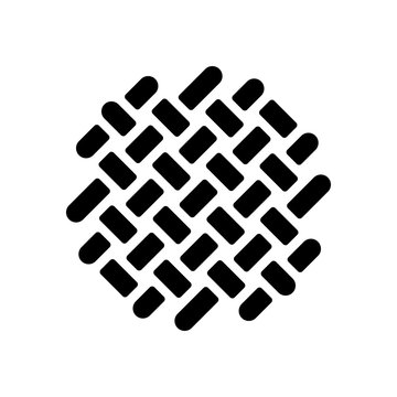 Fabric textile, weaved texture. Black icon on white background