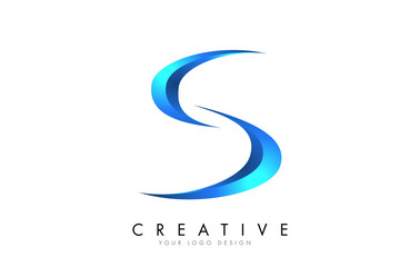 Creative S letter logo with Blue 3D bright Swashes. Blue Swoosh Icon Vector.