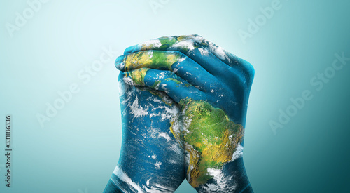 Wall mural Green Planet in Your Hands. Save Earth. Environment Concept. Elements of this image furnished by NASA