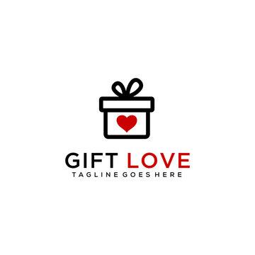 Creative modern gift box sign with heart symbol logo design.