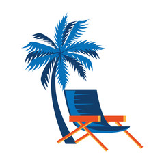 Wall Mural - summer chair with tree palm isolated icon vector illustration design