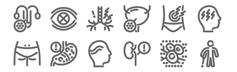 set of 12 disease icons. outline thin line icons such as crutch, kidney, stomach, pain, throat, sight