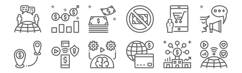set of 12 cashless society icons. outline thin line icons such as wireless, cit card, nfc, online shopping, money, investment