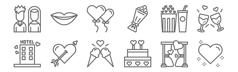 set of 12 date night icons. outline thin line icons such as heart, wedding cake, cupid, popcorn, balloons, lips