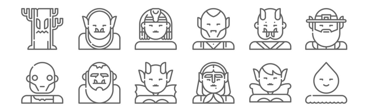 set of 12 fantastic characters icons. outline thin line icons such as spirit, witch, bigfoot, oni, sphinx, goblin