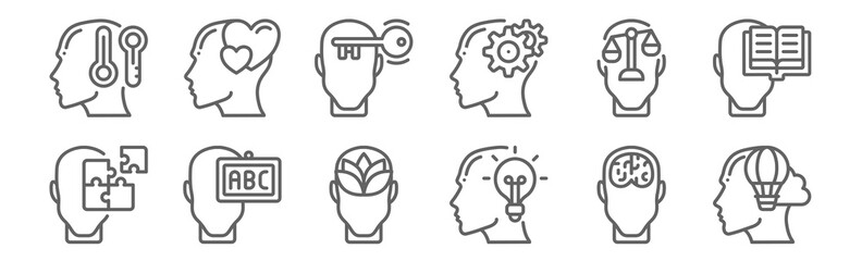 set of 12 human mind icons. outline thin line icons such as imagination, idea, knowledge, law, open mind, in love