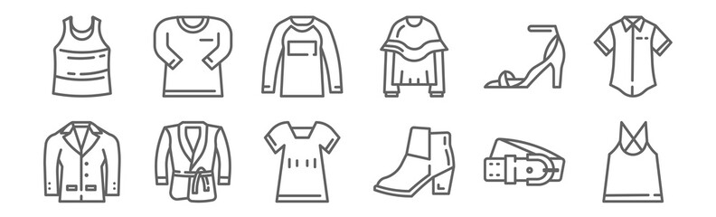 set of 12 fashion style icons. outline thin line icons such as tank top, boot, bathrobe, high heel, shirt, shirt Wall mural