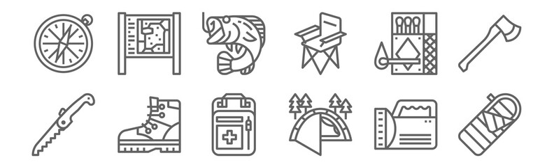 set of 12 camping icons. outline thin line icons such as sleeping bag, tent, boots, matches, fishing, national park