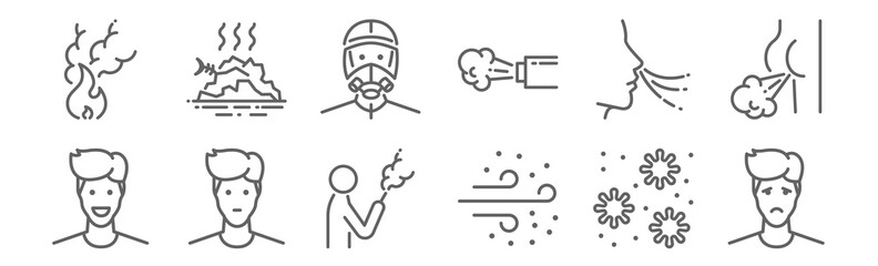 Fototapeta set of 12 air pollution contamination icons. outline thin line icons such as sad, dust, neutral, breath, mask, junk.Coronavirus Bacteria Cell Icon, 2019-nCoV Novel Coronavirus Bacteria.Stop infection.