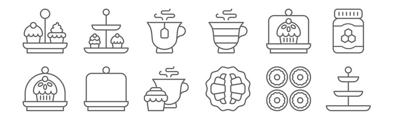 set of 12 high tea icons. outline thin line icons such as tea stand, croissant, cake, cake dome, tea, cupcakes