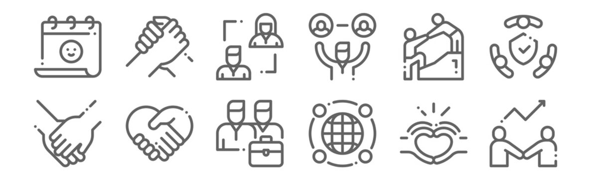 set of 12 friendship icons. outline thin line icons such as develop, around the world, respect, help, relationship, support