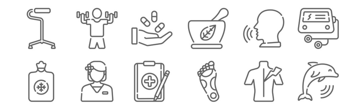 set of 12 theraphy icons. outline thin line icons such as dolphin, reflexology, therapist, speaking, medicine, exercise