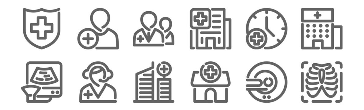 set of 12 hospital icons. outline thin line icons such as x ray, hospital, call center, wall clock, doctor, patient