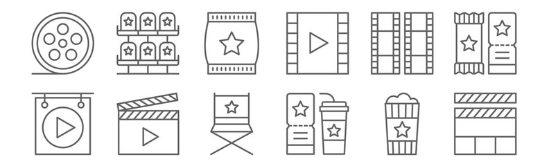 set of 12 film icons. outline thin line icons such as clapperboard, ticket, clapperboard, film roll, popcorn, seat