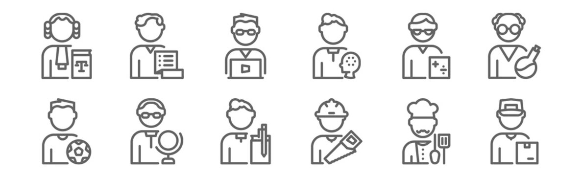 set of 12 man worker avatar icons. outline thin line icons such as courier, carpenter, teacher, accountant, officer, manager