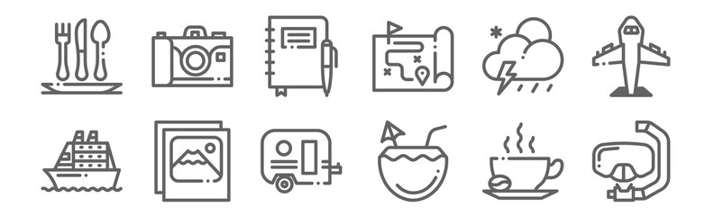 set of 12 travel icons. outline thin line icons such as snorkel, coconut, photo, weather, journal, camera