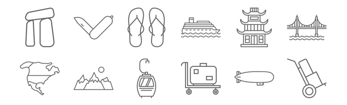 set of 12 travelling icons. outline thin line icons such as cargo trailer, trolley with suitcase, mountains with moon, chinese temple, two step ins, knife folded