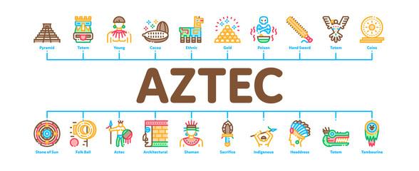 Aztec Civilization Minimal Infographic Web Banner Vector. Aztec Antique Pyramid And Gold, Bird And Animal, Cozcacuauhtli And Mystic Totem Illustrations