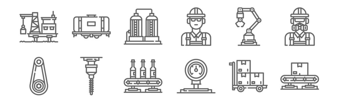 set of 12 industrial process icons. outline thin line icons such as conveyor, gauge, drill, industrial robot, tank, tank