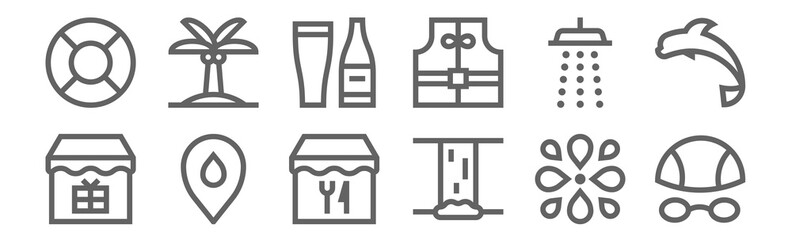 set of 12 water park icons. outline thin line icons such as goggles, waterfall, placeholder, shower, beer, palm tree