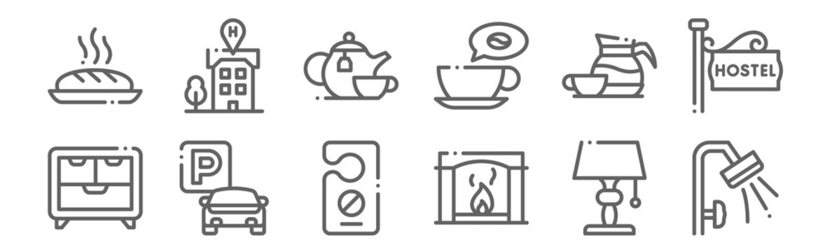 set of 12 bed and breakfast icons. outline thin line icons such as shower, fireplace, parking, coffee, teapot, hotel