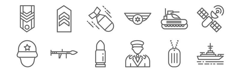 set of 12 military icons. outline thin line icons such as battleship, general, bazooka, tank, torpedo, chevron