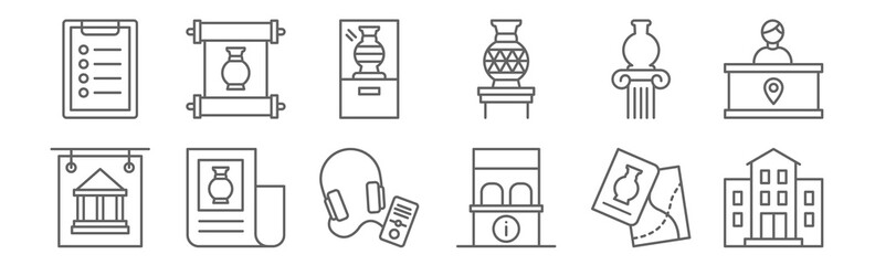 set of 12 museum icons. outline thin line icons such as museum, ticket office, document, vase, vase, scroll