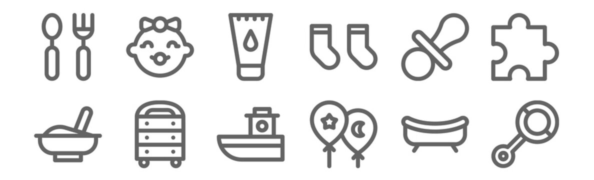 set of 12 baby icons. outline thin line icons such as rattle, balloons, chest of drawers, pacifier, ointment, baby