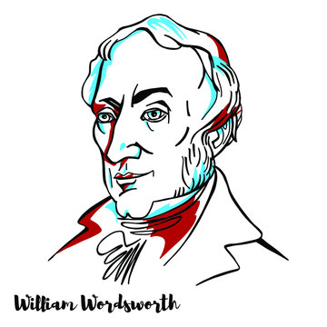 William Wordsworth engraved vector portrait with ink contours.English Romantic poet who, with Samuel Taylor Coleridge, helped to launch the Romantic Age in English literature.
