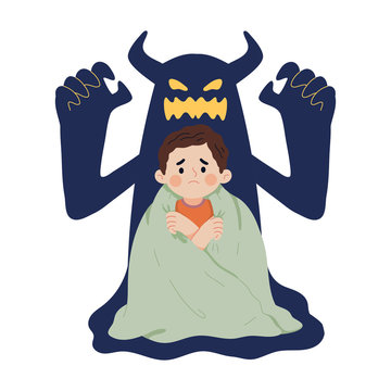 vector illustration of a boy covering himself with a blanket for fear of imagining a big ghost behind him, a boy's fantasy of a ghost