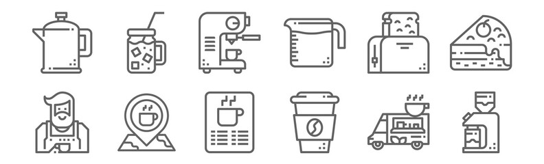 set of 12 coffe shop icons. outline thin line icons such as coffee grinder, coffee cup, place, toaster, coffee maker, cold Fotomurales