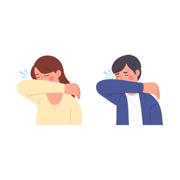 male and female illustration characters when sneezing trying to cover their mouths with their arms to prevent germs from flying from their mouths