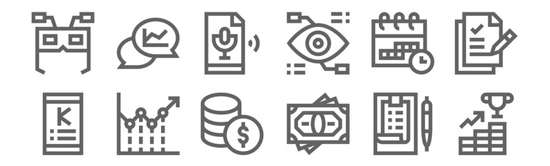 set of 12 crowdfunding icons. outline thin line icons such as growth, money, line chart, calendar, sound, chat