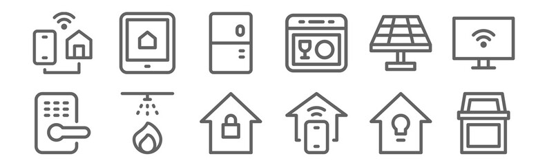 set of 12 smart home icons. outline thin line icons such as bin, home automation, fire alarm, solar panel, fridge, tablet