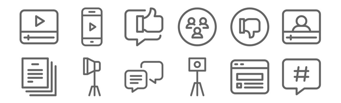 set of 12 influencer icons. outline thin line icons such as hashtag, tripod, spotlight, dislike, chat, video
