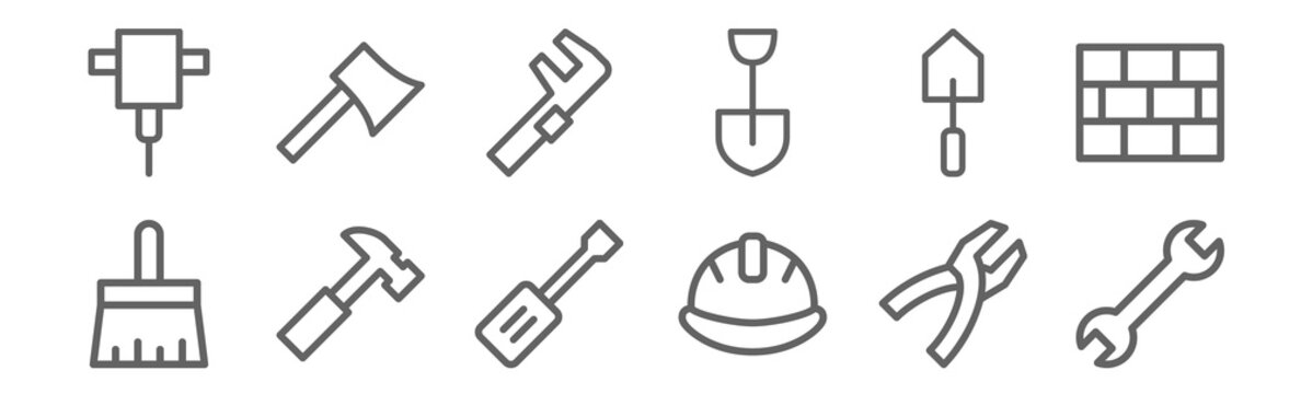 set of 12 construction icons. outline thin line icons such as spanner, helmet, hammer, trowel, clamp, axe