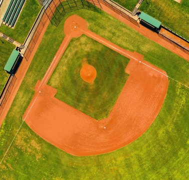 Aerial shot of a baseball field during daytime