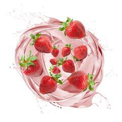 Fototapete - Strawberry milkshake splashing with fruits, on white background