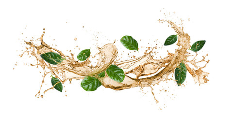 Foto op Canvas Thee tea wave splashing with tea leaves, isolated on white.