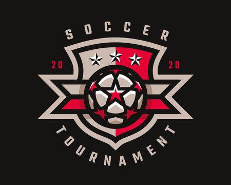 Soccer logo design. Football emblem tournament template editable for your design.